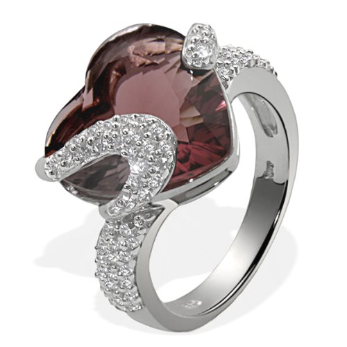 Goldmaid Ladies' Ring 925 Sterling Silver 1 Tourmaline-Coloured Stone 64 White Cubic Zirconia Heart EU Size 56 mm Fa R4306S56