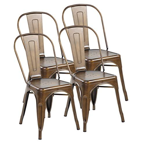 United Chair Tolix Style Metal Stackable Kitchen Dining Chairs with Back Set of 4 Antique Copper 3004-AC-4