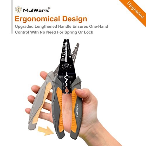 MulWark 8″ Multi-Purpose Electrical Wire Stripping Tool Snips, Crimpers & Pliers Insulated with Cutter, Best Tool For Professional Electrician – Upgraded