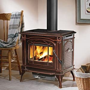 EPA Cast Iron Wood Burning Stove Finish: Porcelain Enamel Majolica Brown