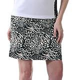 Monterey Club Ladies Splash Leopard Animal Print Woven Skort #2875 (Black/Ivory, Size:16)