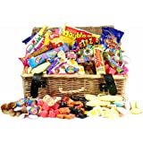 Retro Sweet Shop Gift Hamper by Chewbz, filled with 25 types of classic sweetshop retro sweets including Flying Saucers, Drumsticks and Refreshers. Weighing in at a whooping 2 kilds, this Sweet Hamper is fantastic value and a perfect present for retro sweet fans