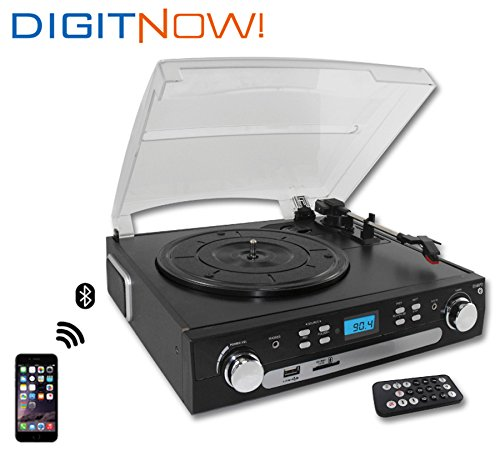 DigitNow! M36 Bluetooth Vinyl Turntable, Cassette, Radio Player with USB Port and SD Encoding() (Turntable Usb Bluetooth compare prices)
