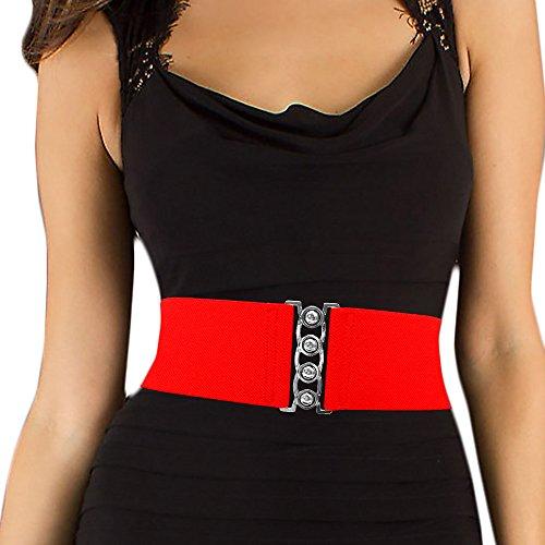 LUNA Fashion 3 Inch Elastic Cinch Belt - Solid - Red