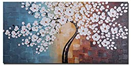 Wieco Art - Blooming life 100% Hand-painted Oil Painting, Stretched and Framed Modern Canvas Wall Art for Home Decor Floral Oil Paintings on Canvas Art 20 by 40 inch