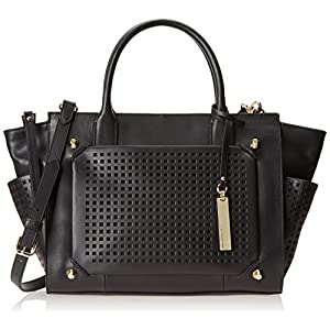 Vince Camuto Peri Satchel,Black/Black Perforated,One Size