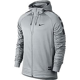 Men\'s Nike Elite Stripe Basketball Hoodie Wolf Grey/Anthracite/Black Size Large