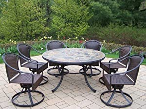 Oakland Living Tuscany Stone Art 54-Inch Table, 7-Piece Wicker Swivel Chair Dining Set