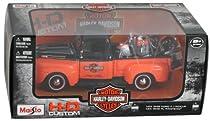 Orange 1948 Ford F-1 Pickup with 1948 Harley-Davidson FL Panhead Motorcycle