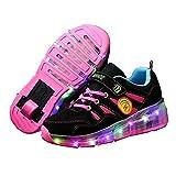 Kids Girls Boys Light Up Wheels Roller Shoes Skates Sneakers Christmas gift (Pink - 1 M US Little Kid)