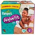 Pampers Active Fit Windeln Gr.5+ Junior Plus 13-27kg Jumbo plus Pack, 66 St�ck