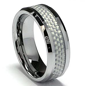 8MM Men's Tungsten Carbide Ring with White Carbon Fiber Inaly size 10