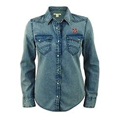 Nebraska Cornhuskers Ladies Cutter and Buck Long Sleeve Wild Card Denim Shirt by Cutter & Buck
