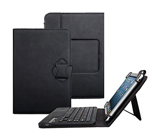Tsmine Samsung Galaxy Tab E 8.0 4G LTE SM-T377 Tablet Bluetooth Keyboard Case - Universal Premium 2-in-1 Detachable Wireless keyboard [QWERTY] w/ Folio Leather Case Stand Cover, Black