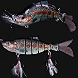8 Jointed Hard Fishing Lure Swimbait Life-like Artificial Bait & Feather Hook
