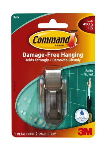 Command Modern Reflections Metal Small Hook, Satin Nickel front-343159