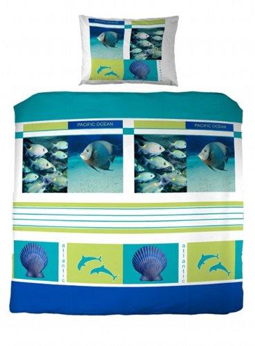 scessetsu parure linge de lit housse de couette avec rabat taie d oreiller enfant ocean. Black Bedroom Furniture Sets. Home Design Ideas