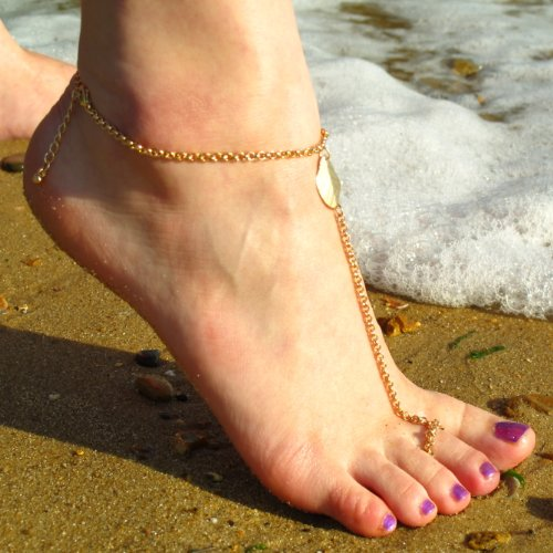 Jewellery of Lords Gold Tone Simple Classic Slave Chain Anklet Leaf Link Toe Ring Barefoot Beach