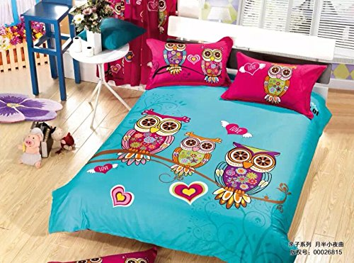 Lt Queen Size 100% Cotton 4-Pieces Character Cartoon Kids Three Colorful Night Owl A Bird Of Minerva Rose Red Blue Prints Duvet Cover Set/Bed Linens/Bed Sheet Sets/Bedclothes/Bedding Sets/Bed Sets/Bed Covers/5-Pieces Comforter Sets (4) front-1072370
