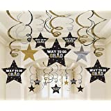 Graduation Star Swirl Decorations (Black/Silver/Gold) Party Accessory 30 pieces
