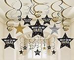 Graduation Star Swirl Decorations (Bl...
