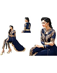 Caffoy Cloth Company Women's Blue Color Georgette Heavy Embroidered Bollywood Designer Party Wear Anarkali Suit.