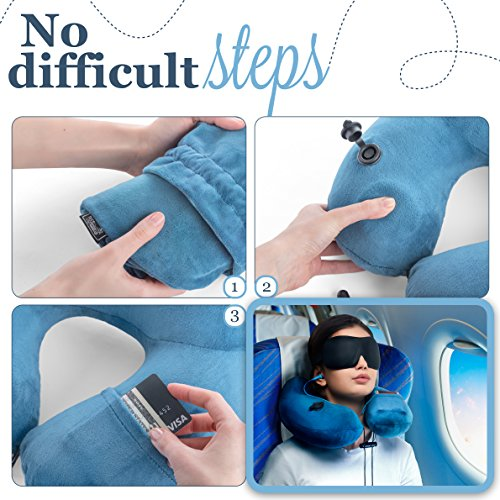 3in1 - TRAVEL NECK PILLOW with an excellent 3D SLEEP MASK, 1 pair of HIGH- FIDELITY EARPLUGS and a compact CARRY BAG – all the best things to relax your mind wherever you are – MyTravelUp