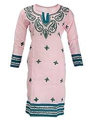 Banthan Women's Cotton Regular Fit Kurta (Bant_103, Baby Pink, 42)