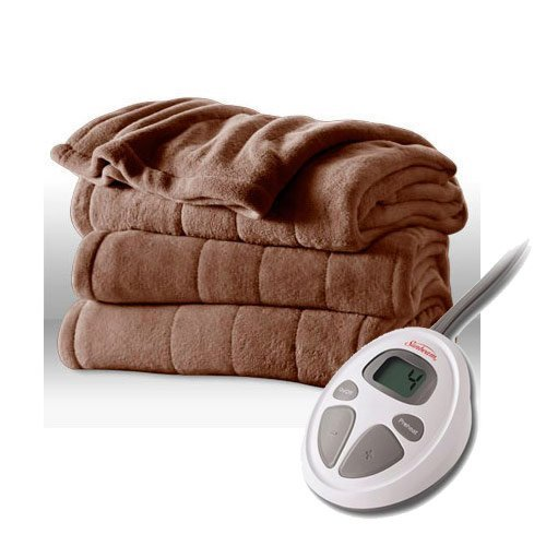 Sunbeam Channeled Velvet Plush Electric Heated Blanket Twin Size Cocoa (Sunbeam Heated Electric Blanket compare prices)