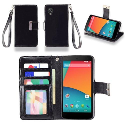 IZENGATE Executive Premium PU Leather Wallet Flip Case Cover Folio Stand for LG Google Nexus 5 (Black) (Phone Cover Nexus 5 compare prices)