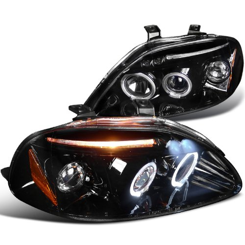 honda civic dx ex si 2 3 4dr halo led projector headlights. Black Bedroom Furniture Sets. Home Design Ideas