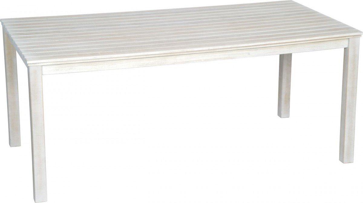 Dreams4Home Gartentisch 'Lavia' – Tisch, Gartentisch, Esstisch, Balkonmöbel, Gartenmöbel, Terrassenmöbel, Holzmöbel, Akazienmöbel, B/H/T: 90 x 75,5 x 180 cm, aus Akazie, in grauweiß kaufen