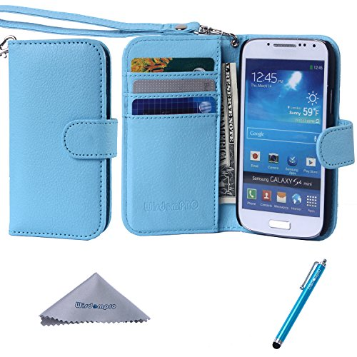 S4 Mini Case, Wisdompro Premium PU Leather 2-in-1 Protective [Folio Flip Wallet] Case with Credit Card Holder/Slots and Wrist Lanyard for Samsung Galaxy S4 Mini (NOT S4 FIT) - Blue (Samsung Galaxy S4 Mini Folio Case compare prices)