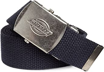 Dickies Men's Web Belt with Antique Nickel Finish, Navy, One Size