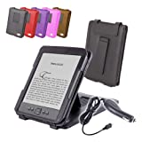 "DURAGADGET Black Genuine Leather Case & Cover With Stand For Amazon's New Kindle, Wi-Fi, 6"" E Ink Display (Latest Generation) + Car Charger"