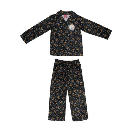2 PCS SET: NFL New England Patriots Boys Or Girls Fleece Sleepwear Pajama Top & Pants Set - Black & Brown
