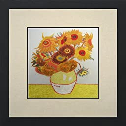 Susho, King Silk Art 100% Handmade Silk Embroidery - Van Gogh Sunflower - White Mat Framed Medium Size 36127WF