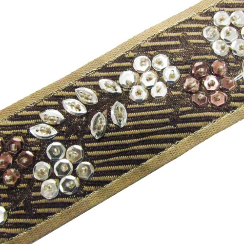 1 Yard Hand Beaded Light Gold Brown Sequin Ribbon Trim