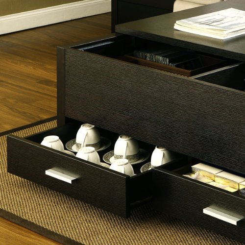 Lovely Garretson Storage Box Coffee Table In Espresso Finish