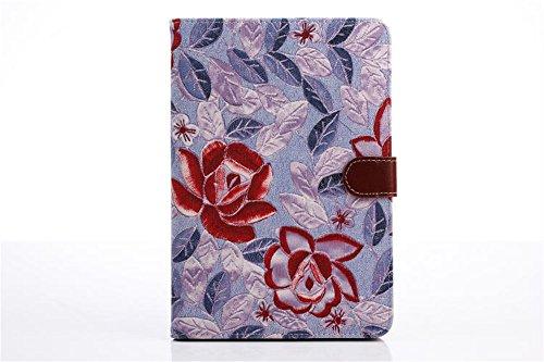 Ipad Mini Case, Ipad Mini 2/3 Borch Fashion Luxury Multi-function Protective Floral Series Light-weight Folding Flip Smart Case Cover for Apple Ipad Mini, Ipad Mini 2 & 3 (Purple)