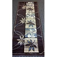Modern Rug Runner 32 In. X 7 Ft. Design S 252 Chocolate
