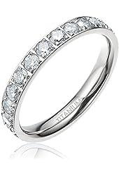 Fast Shipment! 3 mm Women's Titanium Silvery Cz Stone Inlay Eternity Ring Wedding Engagement Band Size 4 - 12