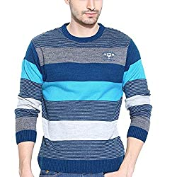 Duke Striped Round Neck Blue Mix Casual Men's Sweater By Returnfavors