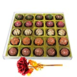 Valentine Chocholik's Belgium Chocolates - Entrancing Truffle Gift Box With 24k Red Gold Rose