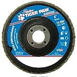 "Weiler 51101 Tiger Paw High Performance Abrasive Flap Disc, Type 27 Flat Style, Phenolic Backing, Zirconia Alumina, 4"" Diameter, 5/8"" Arbor, 40 Grit, 15000 RPM (Case of 10)"