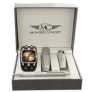 Montre-Concept coffret cadeau montre Homme avec briquet , lampe de poche et stylo référence CBLA262-MARRON-CHOCO