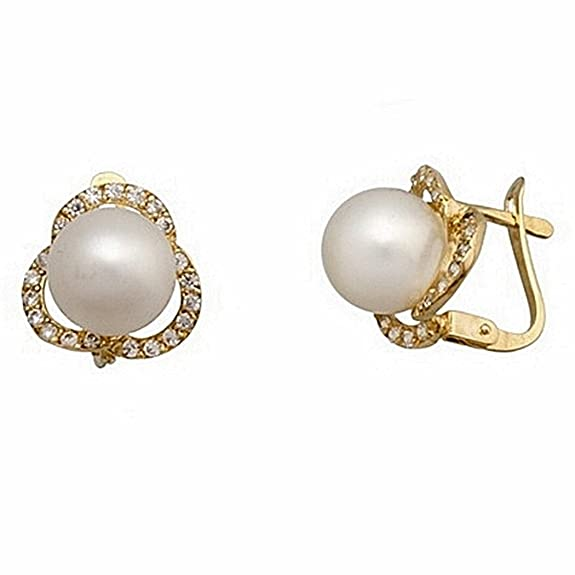 18k gold earrings cultured pearl 8mm. triband zircons [7131]