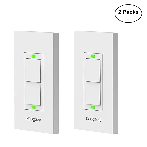 Koogeek Smart WiFi Light Switch Two-Gang Switch for Apple HomeKit with Siri Remote on 2.4Ghz Network, Single Pole, Beige (Require Neutral Wire) 2Packs (Color: Beige, Tamaño: 2 Packs)