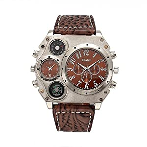 OULM Analog Dual Display Sub-dials Leather Sports Mens Watch with Compass Brown