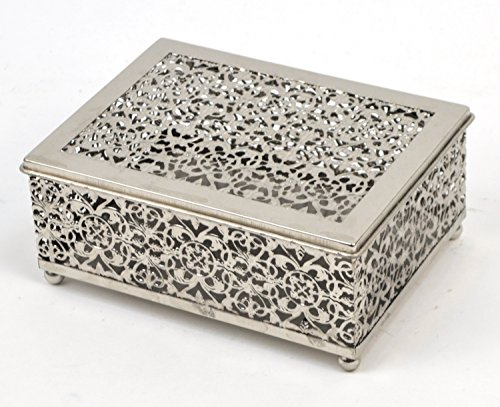 Concepts Metal Silver Lace Jewelry/Trinket Box With Ball Feet 6x8